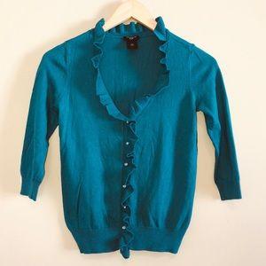ANN TAYLOR *NEW* ruffled teal cardigan